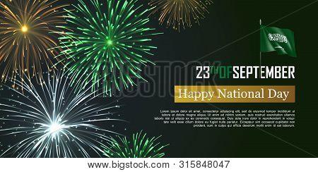 Happy National Day Of Kingdom Of Saudi Arabia. Horizontal Print Card Vector Design With Realistic Da