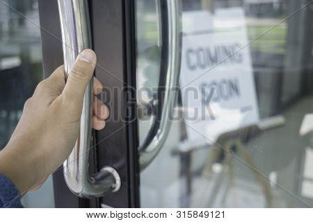 Woman Hand Opening See Through Door, Stock Photo