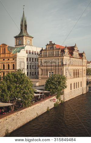 Prague, Czech Republic - May 1, 2017: Prague Old Town View At Summer Day. Vltava River, Smetana Muse