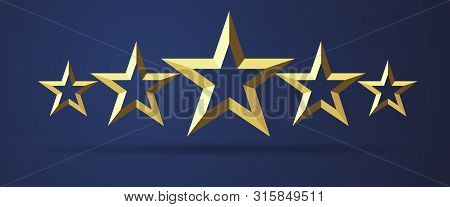 Five Stars Rating Realistic Golden 3d Icon. Quality Sign Template, Rank Star Facet Symbol On Dark Ba