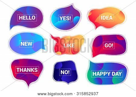 Abstract Futuristic Speech Bubbles Collection With Gradient Background. Dialog Windows With Phrases: