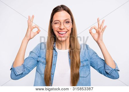 Close-up Photo Portrait Of Nice Positive Optimistic Attractive Brainy Lady Making Double Okey Signal