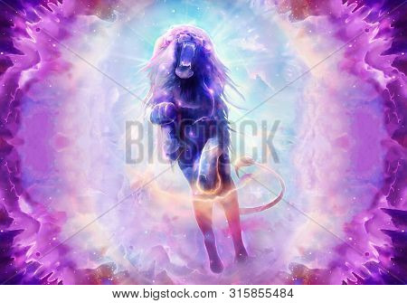 Abstract Artistic Digital Paint Of A Colorful Roaring Lion Jumping Ahead In A Multicolored Galactic