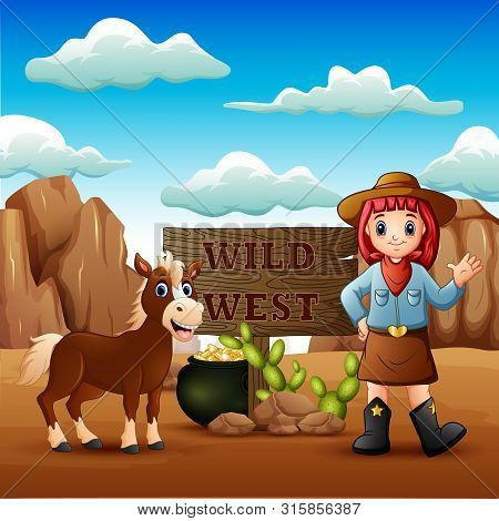Cowgirl Wild West Landscape With Horse Illustration