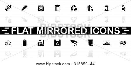 Garbage Icons - Black Symbol On White Background. Simple Illustration. Flat Vector Icon. Mirror Refl