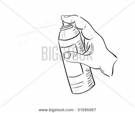 Man's Hand With Aerosol Can
