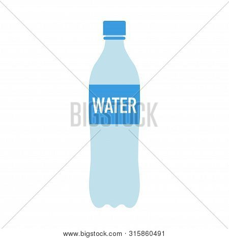 Simple Water Bottle In Flat Design Vector Illustration