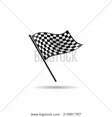 Checkered Flag Vector, Racing Flag Vector, Start Flag Symbol, Black And White Flag, Checkered Flag I