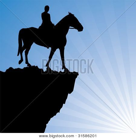 poster of vector illustration of man on the horse on top of the mountain