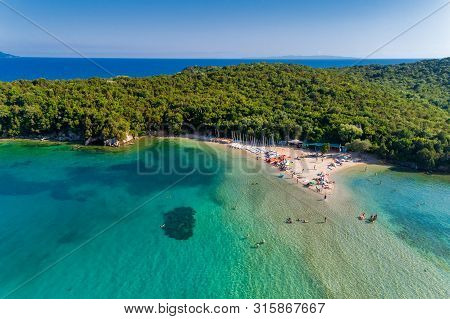 Aerial Drone Bird's Eye View Of Bella Vraka Beach With Turquoise Sea In Complex Islands In Sivota Ar