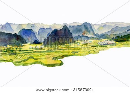 Paintings Watercolor Landscape Original Of Village Mountain Hill, Cornfield And Meadow Countryside.