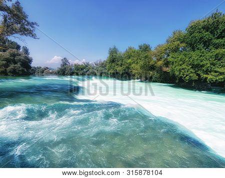 Manavgat Waterfall In The Summer Season Closeup