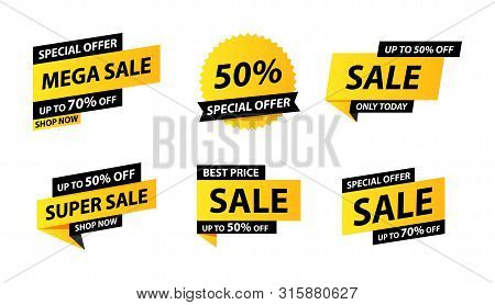 Sale Tags Collection. Special Offer, Big Sale, Discount, Best Price, Mega Sale Banner Set. Shop Or O