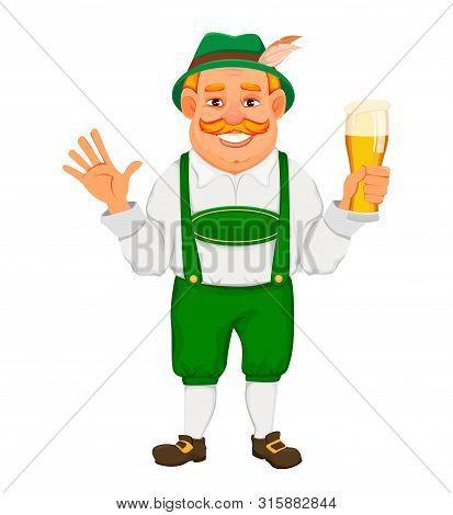 Oktoberfest, Beer Festival. Cheerful Man In Traditional Bavarian Clothes Holds A Glass Of Beer And W