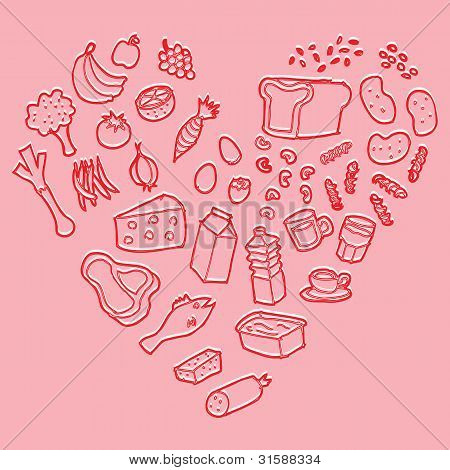 Healthy food heart vector