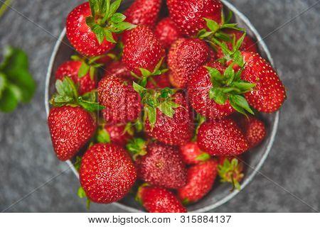 Strawberries In Grey Bowl. Fresh Strawberries. Beautiful Strawberries.