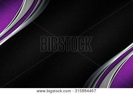 Purple Carbon Fiber And Curve Chromium Frame. Metal Background And Texture. Material Design. 3d Illu