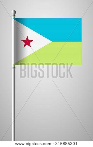 Flag Of Djibouti. National Flag On Flagpole. Isolated Illustration On Gray