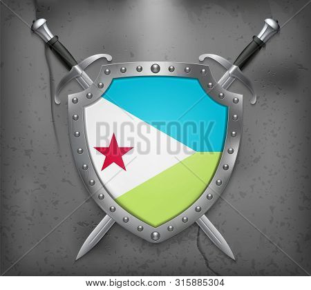 Flag Of Djibouti. The Shield With National Flag. Two Crossed Swords. Medieval Background