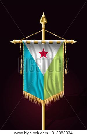 Flag Of Djibouti. Festive Vertical Banner. Wall Hangings With Gold Tassel