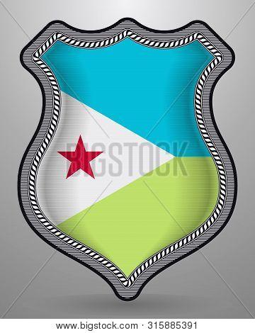 Flag Of Djibouti. Vector Badge And Icon. Horizontal Orientation Version
