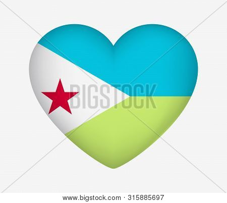 Heart Shaped National Flag Of Djibouti. I Love My Country. Vector Illustration