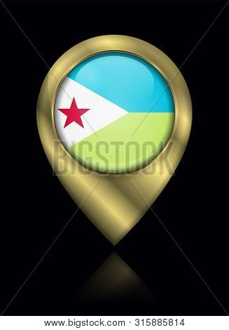 Flag Of Djibouti. Vector Sign And Icon. Location Symbol Shape. Gold