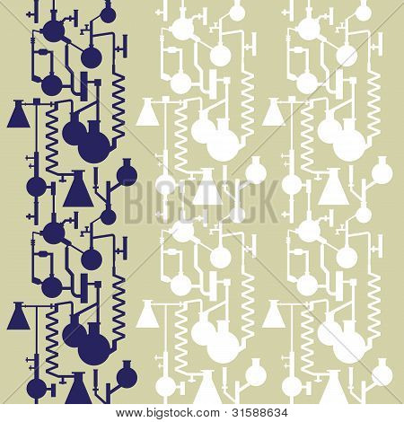 Science lab banner seamless pattern