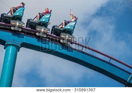 Orlando, Florida. July 29, 2019. People Having Fun Riding  Mako Rollercoaster During Summer Vacation