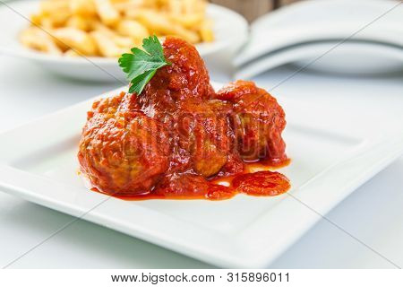 Homemade Tomato Sauce Meatballs With French Fries
