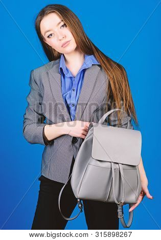 Female Bag Fashion. Stylish Woman In Jacket With Leather Backpack. Business. Shool Girl With Knapsac
