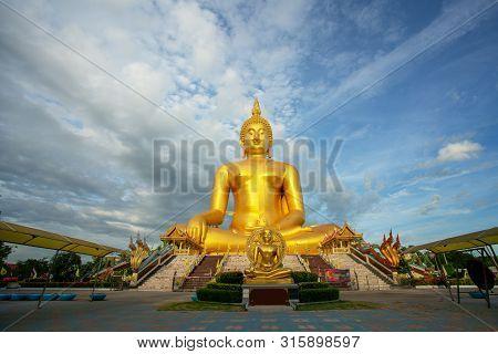 Thailand Luang Phor Yai Wat Muang Ang Thong Big Golden Buddha Statue Landmark Tourism Of Travel In A