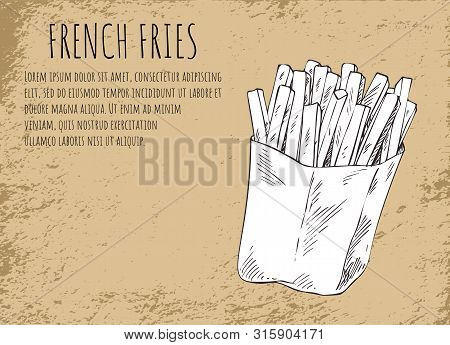 French Fries Fried Potatoes In Package Poster With Headline And Monochrome Sketch Outline. American