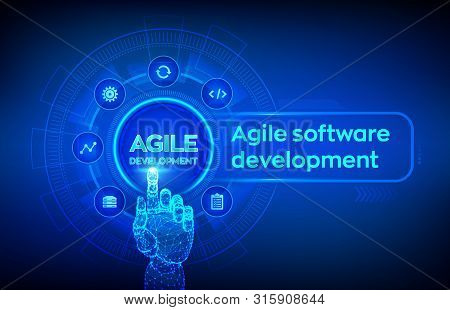 Agile Software Development Methodology Concept On Virtual Screen. Digital Technology, Big Data Conce