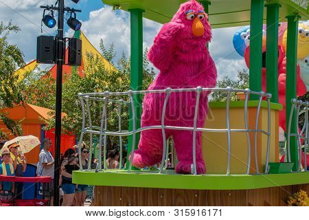 Orlando, Florida. July 30, 2019. Telly Monster In Sesame Street Party Parade At Seaworld .