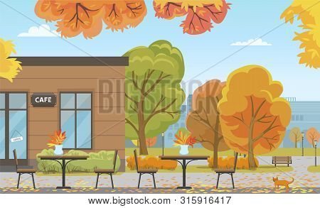 Autumn City Park With Tables Near Cafe Building. Bistro Or Restaurant Among Fall Leaves On Trees, Gi