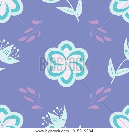White, Blue And Lavander Stylized Flowers And Leaves On Mauve Background Seamless Repeat.