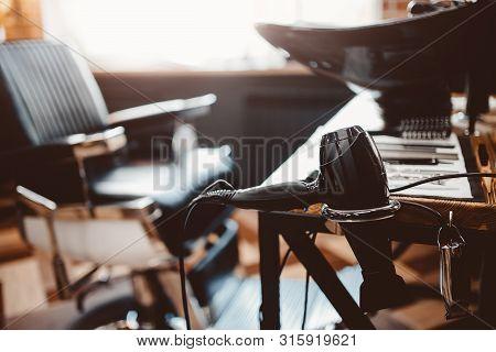 Barbershop Concept. Chair Background Hairdresser And Hair Salon, Barber Shop For Men