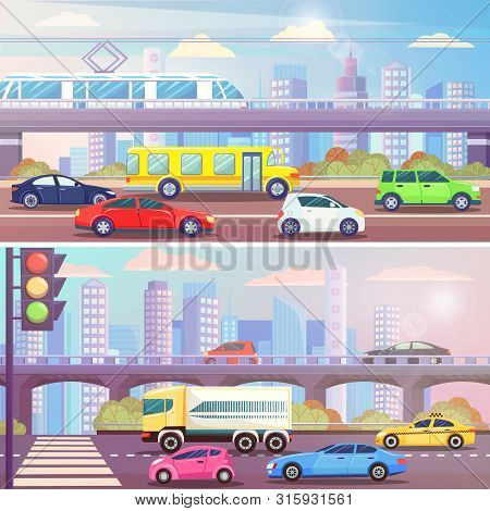 City Street With Traffic Light And Transport Vector. Road With Cars, Buses And Tramways, Railway Sta