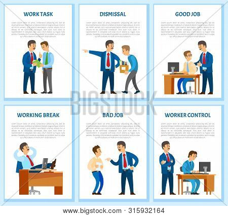 Work Task And Order, Employee Dismissal By Employer Vector. Reprimand, Worker Monitor, Supervisor Of