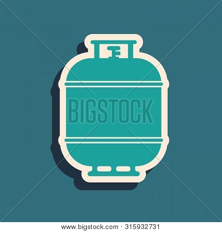 Green Propane Gas Tank Icon Isolated On Blue Background. Flammable Gas Tank Icon. Long Shadow Style.