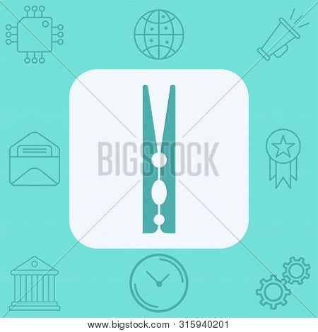 Clothespins Icon Vector, Filled Flat Sign, Solid Pictogram Isolated On White. Symbol, Logo Illustrat