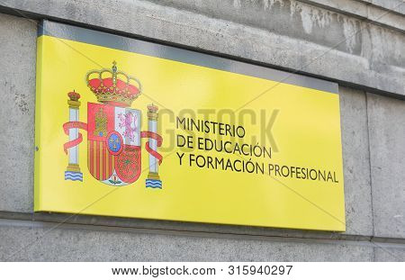 Madrid Spain - May 28, 2019: Ministry Of Education And   Vocational Training Madrid Spain