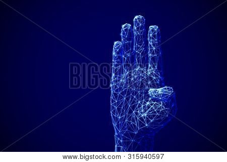 Artificial Intelligence Or Machine Learning Concept: Digital Arm Raised Up To Ask A Question. E-lear