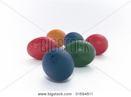 A Lot Of Multi-coloured Painted Eggs Easter
