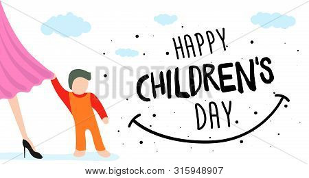 Happy Children Day Greeting Card, Banner Or Poster. Little Child Clings To Mom Dress. 1 June World F