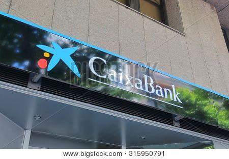Madrid Spain - May 28, 2019: Caixabank Spanish Bank