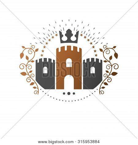 Ancient Citadel Emblem. Heraldic Vector Design Element. Retro Style Label, Heraldry Logo. Antique Lo