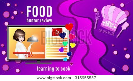 Food Review Banner. The Girl Takes The Dish To Display Live Broadcast Or Record The Cookery. Learnin