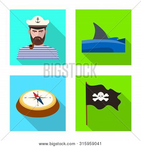 Vector Design Of Travel And Attributes Logo. Set Of Travel And Seafaring Stock Symbol For Web.